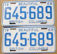 BRITISH COLUMBIA 1968 PAIR