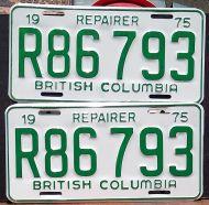 BRITISH COLUMBIA 1975 REPAIRER (TOW TRUCK) PAIR