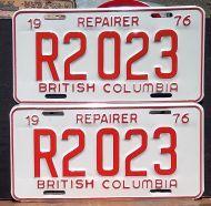 BRITISH COLUMBIA 1976 REPAIRER PAIR