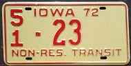 IOWA 1972 NON-RESIDENT TRANSIT