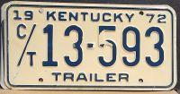 KENTUCKY 1972 CAR TRAILER