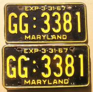 1967 MARYLAND PAIR