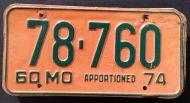 MISSOURI 1974 APPORTIONED TRUCK