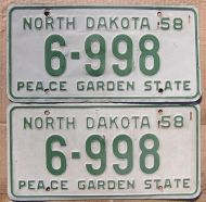 NORTH DAKOTA 1958 PAIR