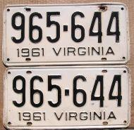 VIRGINIA 1961 PAIR