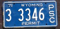 WYOMING 1971 PSC PERMIT